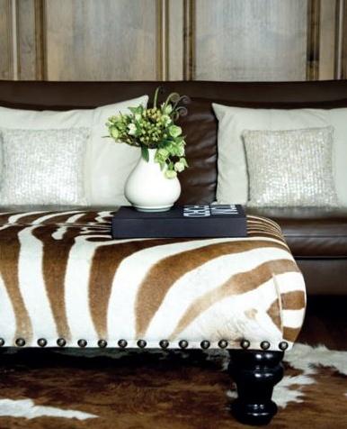 Zebra Striped Ottoman