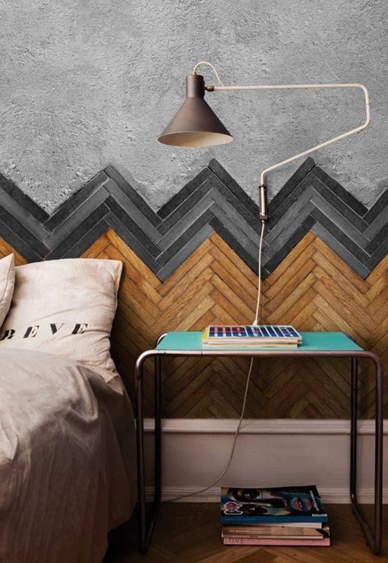 Bedroom with Herringbone Wall