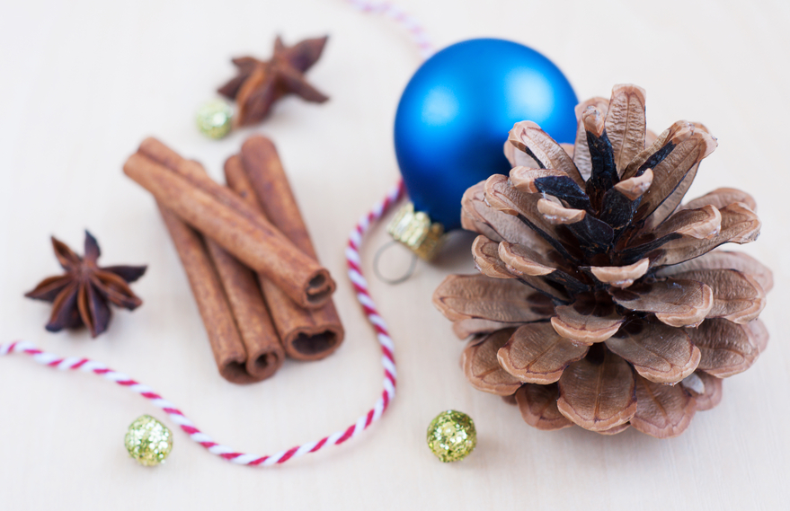 Pinecone with a blue bauble and cinnamon sticks.