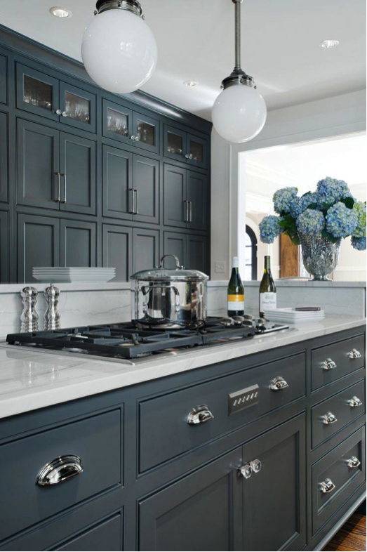 Trend alert grey cabinets in the kitchen homedesignboard for Dark blue kitchen paint