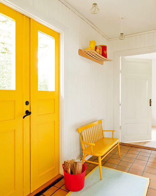 bold yellow entry way