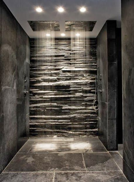 Contemporary Bathroom with Dual Rain Shower