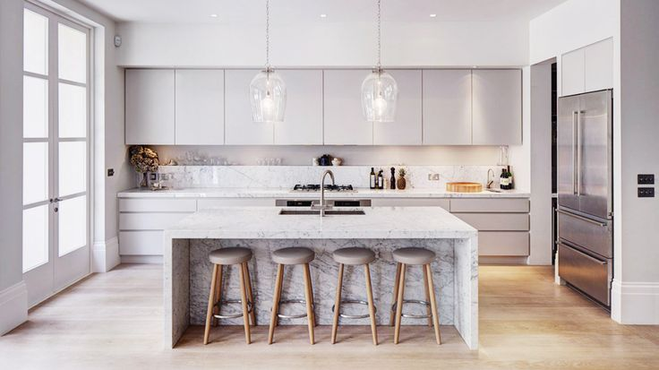 Contemporary Kitchen with Solid Marble Island