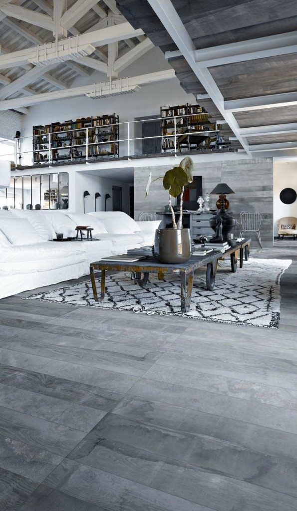 Modern Greyscale Living Room and Library Loft